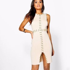 Gold Trim Ribbed Bodycon Dress